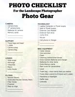 Photo Gear Checklist