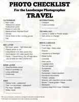 Photo Travel Checklist